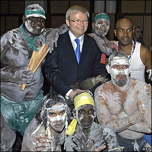 Australian Prime Minister Kevin Rudd and Aboriginal leaders in Australia's parliament