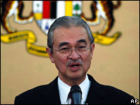 Prime Minister Abdullah Badawi announces his decision in Putrajaya on 13 February 2008