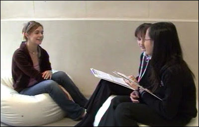 School Reporters Ga Yen, Crystal and Laura from Clapton Girls Technology College in Hackney, East London, interview Anna Louise, a former sufferer of anorexia