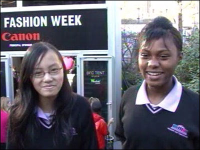 School Reporters Ga Yen, Crystal and Laura from Clapton Girls Technology College in Hackney, East London