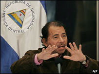 Nicaraguan President Daniel Ortega speaks at a news conference about the border issue on 8 February
