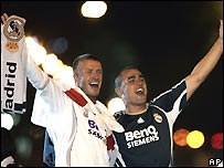 Real Madrid players David Beckham, left, and Fabio Cannavaro