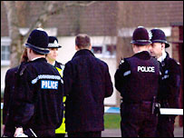 Police officers at the scene on Tuesday afternoon - image courtesy Andy Batt 