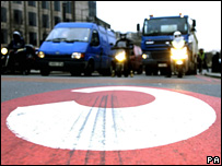 Traffic entering the London congestion charge zone