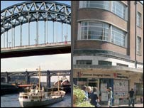 Newcastle's Tyne Bridge and a street in Newcastle-under-Lyme