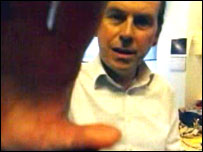 Rory Cellan-Jones filmed through a mobile phone
