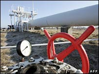 A pressure valve on a gas pipeline near Kiev. File photo