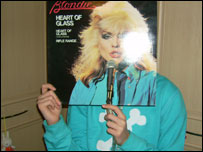 Somebody holding Blondie record sleeve in front of their face