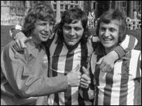 Sunderland's Jim Montgomery, Ian Porterfield and Dennis Tueart