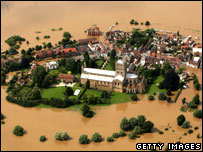 Aerial shot of Tewkesbury under water