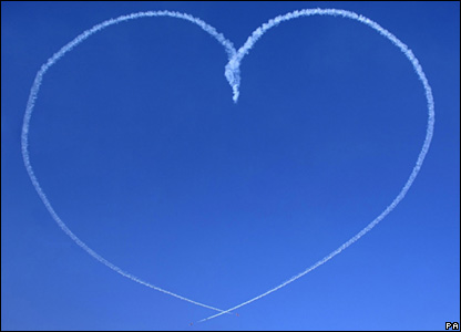 The Red Arrows create a heart shape using smoke above RAF Scampton (13/02/2008)
