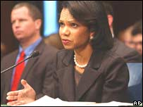 Condoleezza Rice testifies in front of the Senate Foreign Relations Committee in Washington DC on Wednesday