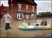Scene from last year's floods in Tewkesbury