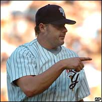 Baseball star Roger Clemens in a game in May 2007