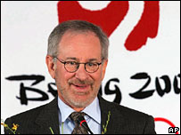 Director Steven Spielberg pictured in front of the Beijing Olympics logo in April 2006