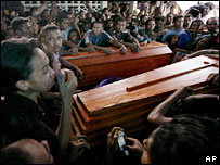 Supporters of renegade soldier Alfredo Reinado and surround his coffin on 13 February 2008