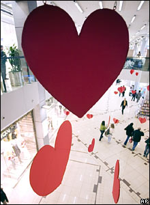 Heart decorations in a shopping centre in Sofia, Bulgaria