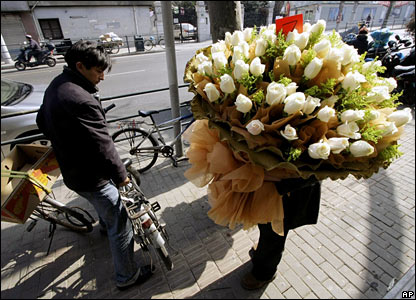 A flower seller in Shanghai, China