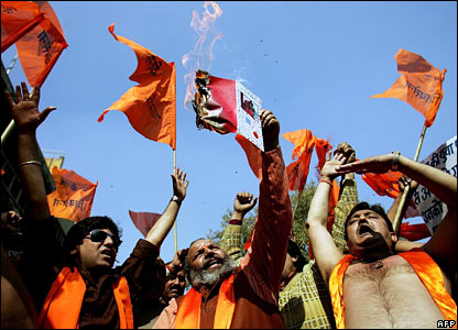 Activists of Indian right-wing Hindu party Shiv Sena protest Valentine's Day