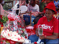 Alice Wangui, a rose trader in Nairobi, Kenya