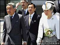Emperor Akihito (left) and Empress Michiko (right), followed by Crown Prince Naruhito (centre), 21/05/07