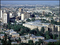 Skyline of Yerevan, capital of Armenia