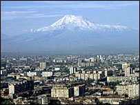 Skyline of Yerevan, capital of Armenia, with Mount Ararat in the distance