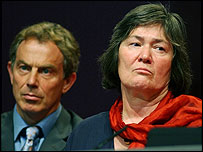 Clare Short and Tony Blair at the 2002 Labour conference