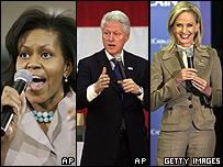 Michelle Obama, Bill Clinton y Cindy McCain.