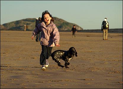 Anna racing a dog
