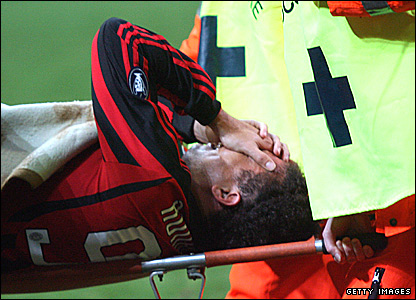 Ronaldo is stretchered off against Livorno