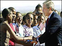George W Bush meets people in Botswana during his visit in 2003