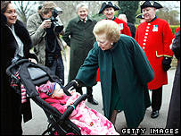 Lady Thatcher meeting baby
