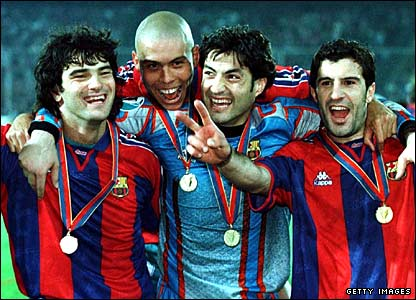 Ronaldo celebrates winning the Cup Winners Cup final with Fernando Couto, Vitor Baia and Luis Figo 