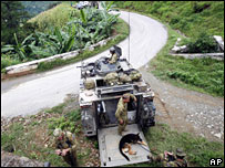 Australian troops on patrol near Dili on 14 February 2008