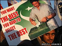 Musharraf supporter with banner in Islamabad