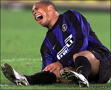 Ronaldo screams in pain for Inter
