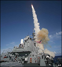 Missile launched from USS Decatur during a Missile Defense Agency ballistic missile flight June 22, 2007.