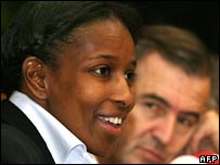 Ayaan Hirsi Ali with French philosopher Bernard-Henri Levi (R)