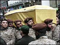 Imad Mughniyeh's coffin is borne by Hezbollah fighters