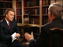 Matt Frei interviews US President George W Bush in the White House library, 14 Feb 2008