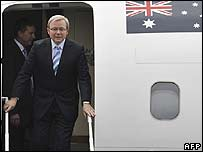 Australian Prime Minister Kevin Rudd arrives in the East Timor capital on 15 February