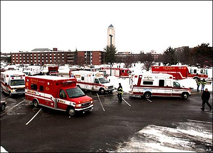 Emergency vehicle cluster outside Northern Illinois University