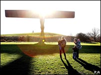 Angel of the North viewed by mums with babies