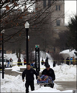 Shooting victims wheeled on stretcher, Northern Illinois University