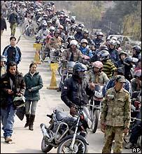 Queuing for fuel in Kathmandu