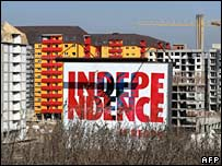 A poster in Pristina which reads Independence