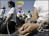 Manifestación para la liberación de secuestrados en Colombia