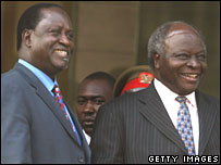 Raila Odinga (L) and Mwai Kibaki (R) after their first post-poll meeting on 24 January