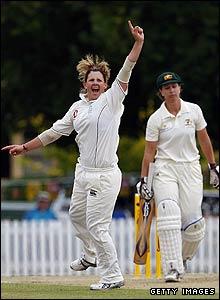 Nicky Shaw takes a wicket